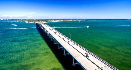 key biscayne: Miami Rickenbacker Causeway aerial view, Florida - USA.