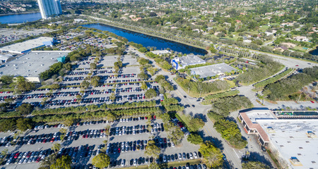 top down car: Aerial view of big car parking. Stock Photo