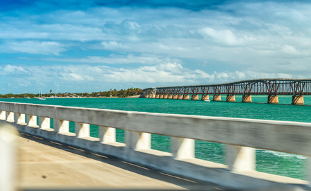 Old Bridge on Keys Islands from fast moving car, FL. Stock Photo