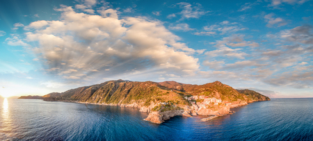 spezia: Aerial sunset view of Manarola from helicopter - Five Lands, Italy. Stock Photo