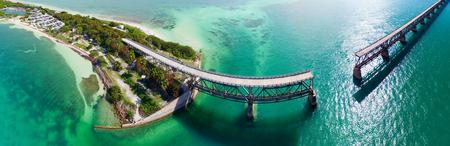Bahia Honda Bridge panoramic aerial view on Overseas Highway - Florida. Stock Photo