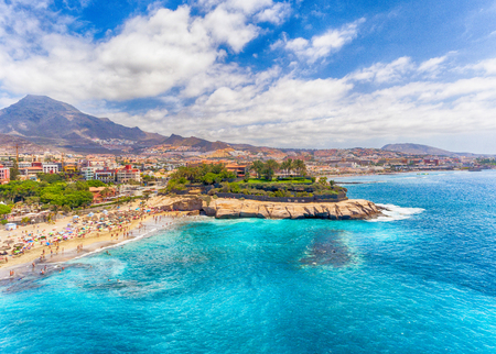 El Duque Beach aerial view in Tenerife, Spain. 免版税图像