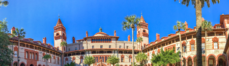 ST. AUGUSTINE, FLORIDA - FEBRUARY 2016: Panoramic view of Flagler College. St Augustine is a famous Florida destination. Editorial