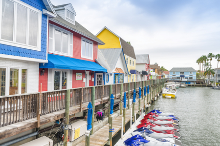 SARASOTA, FL - FEBRUARY 2016: Beautiful colourful homes in Siesta Key. Siesta Key is a famous destination in Florida.