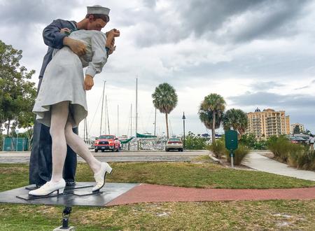 SARASOTA, FLORIDA - FEBRUARY 2016: Panoramic view of Unconditional surrender statue in sarasota, Florida.