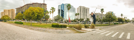 SARASOTA, FLORIDA - FEBRUARY 2016: Panoramic view of Unconditional surrender statue in sarasota, Florida. Editorial