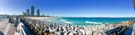 MIAMI - FEBRUARY 2016: Panoramic view of Miami Beach from South Pointe Park. Miami attracts 15 million people annually.