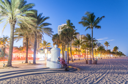Fort Lauderdale at night. Amazing lights of Beach Boulevard.