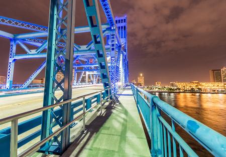 Jacksonville, Florida. City lights at night from bridge.