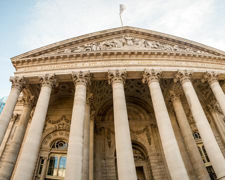 uk money: London Royal Exchange building, UK. Stock Photo