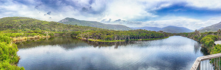 wilsons promontory: Tidal River trail panoramic view in Wilsons Promontory park, Australia. Stock Photo
