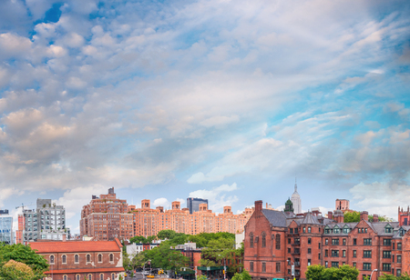 Midtown Manhattan panoramic view at sunset from High Line Park, USA.