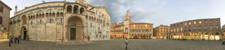 MODENA, ITALY - SEPTEMBER 30, 2016: Tourists visit city center, panoramic view. Modena is a major destination in Emilia-Romagna. Editorial