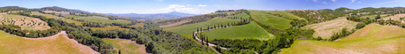 orcia: Amazing panoramic aerial view of Tuscany hills in spring season - Italy.