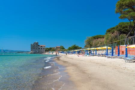 local 27: TORRE MOZZA, ITALY - MAY 27, 2017: Beautiful Tuscany Beach in spring. Torre Mozza is a local beach near Follonica. Editorial