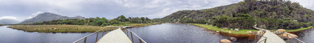 wilsons promontory: Loo-Errn track and Tidal River in Wilsons Promontory, panoramic view of Australian vegetation. Stock Photo