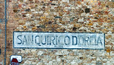san quirico: San Quirico DOrcia entrance sign, Tuscany.