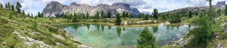 Panoramic view of lake and mountains, Italian Alps.