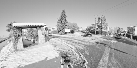 Streets after a Snowstorm in Pisa, Italy Stock Photo