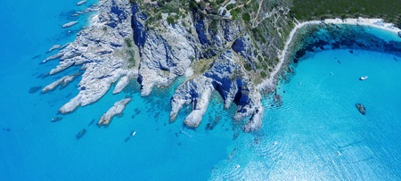 Capo Vaticano, Calabria - Italy. Amazing panoramic overhead aerial view of coastline on a sunny day.