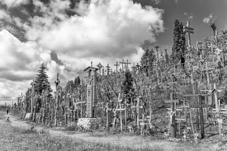 The Hill of Crosses, Kryzių Kalnas, located 12 kilometers north of the small industrial city of Siauliai . Editorial