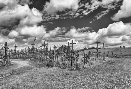 The Hill of Crosses, Kryzi? Kalnas, located 12 kilometers north of the small industrial city of Siauliai .