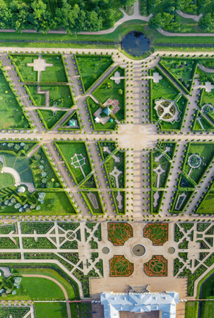 rundale: Panoramic overhead view of Rundale Castle gardens, Lithuania. Editorial