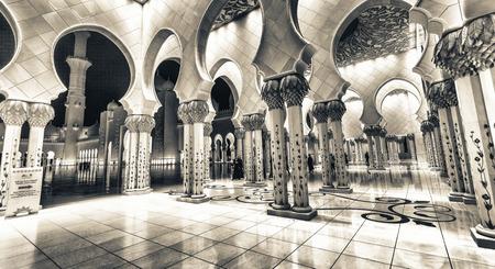 Sheikh Zayed Grand Mosque interior at night, Abu Dhabi - UAE.