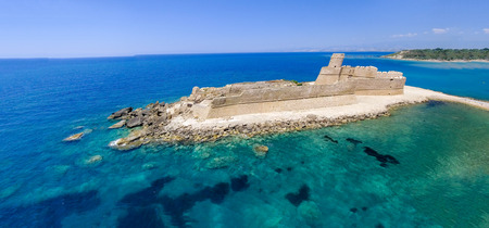 Panoramic aerial view of Aragonese Fortress, Calabria, Italy. Stock Photo