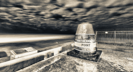 Southernmost point in Key West, night view. Stock Photo