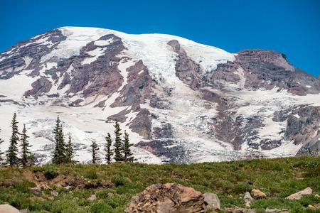 Mount Rainier on a beautiful sunny day, WA. Stock Photo