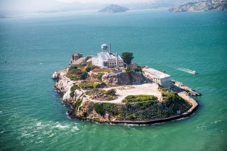 alcatraz: Aerial helicopter view of Alcatraz Island, San Francisco.