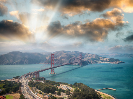 Aerial view of San Francisco Golden Gate Bridge from Helicopter.