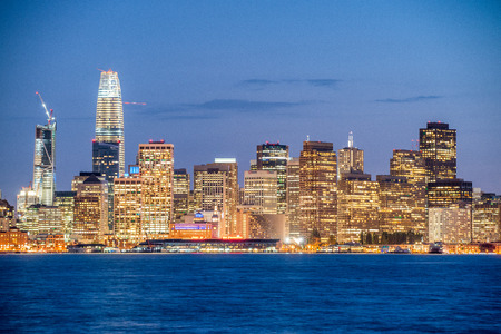 Amazing night skyline of San Francisco, CA. Editorial