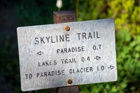 Skyline trail sign in Mount Rainier, WA.