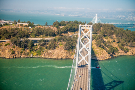 Overhead view of Bay Bridge in  San Francisco from helicopter, CA.