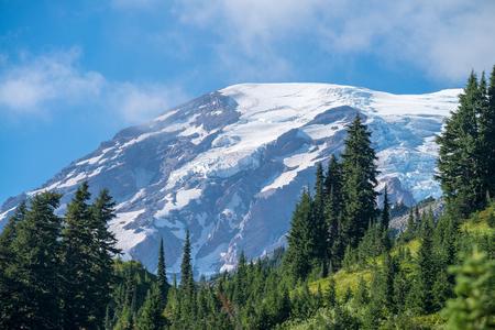 Beautiful landscape of Mount Rainier in summer. Stock Photo