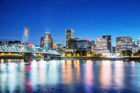 Portland, Oregon. City skyline on a beautiful summer night.
