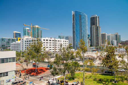 SAN DIEGO, CA - JULY 30, 2017: View of Downtown buildings on a beautiful sunny day. San Diego hosts more than 34.9 million visitors each year.