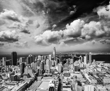 SAN FRANCISCO - AUGUST 2017: Aerial view of Downtown San Francisco skyline. The city hosts 25 million people annually.