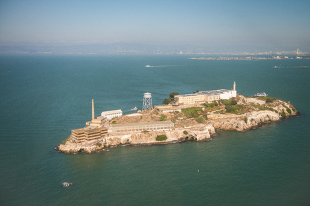Aerial helicopter view of Alcatraz Island, San Francisco.