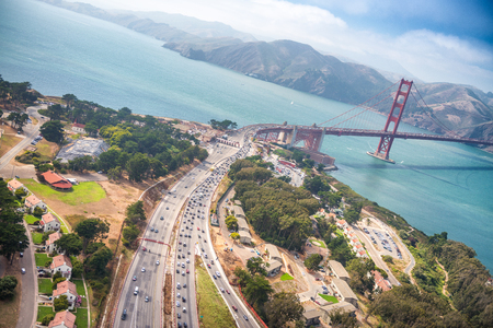Aerial view of San Francisco Golden Gate Bridge and US Highway 101 from Helicopter.