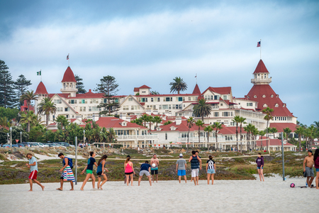 SAN DIEGO, CA - JULY 30, 2017: Hotel del Coronado is a historic beachfront hotel in the city of Coronado, just across the San Diego Bay from San Diego.