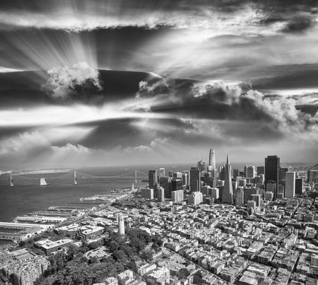 Aerial view of Downtown San Francisco skyline from helicopter, CA.