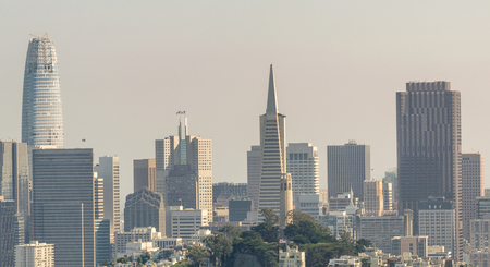 Downtown San Francisco as seen from helicopter.