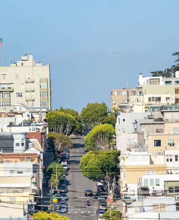 Lombard Street in San Francisco as seen from Russian Hill.