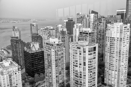 Skyscrapers of Vancouver from high viewpoint, BC - Canada.