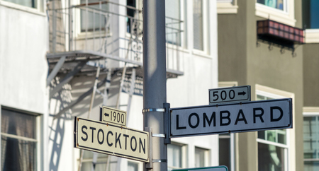 Stockton and Lombard Streets sign in San Francisco.