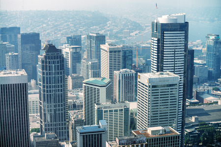 Aerial view of Seattle skyscrapers, WA. Banque d'images