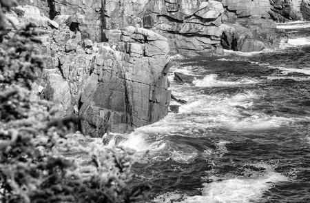 Acadia National Park, Maine. Waves against the rocks.